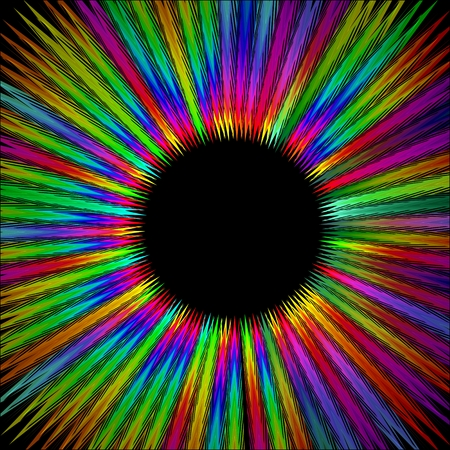 furry: Rainbow furry circle shape with black area in middle, gritty psychedelic rays in life energy aura
