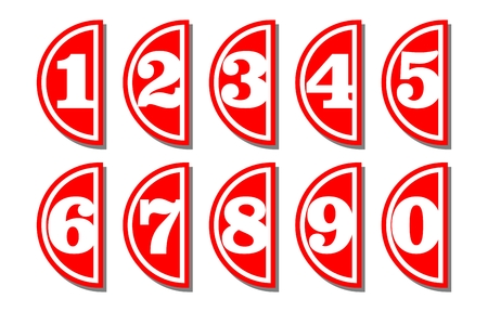 semicircular: Set of artistic number in semicircular shape, white digits on red background, useful as infographic tag for presentation template
