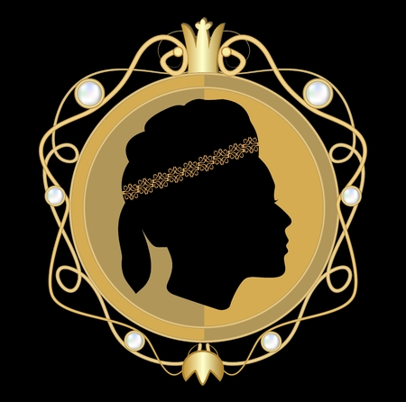 brooch: Gold jewellery with classical woman face profile in circle medallion with golden royal crown and pearls, brooch in art deco style