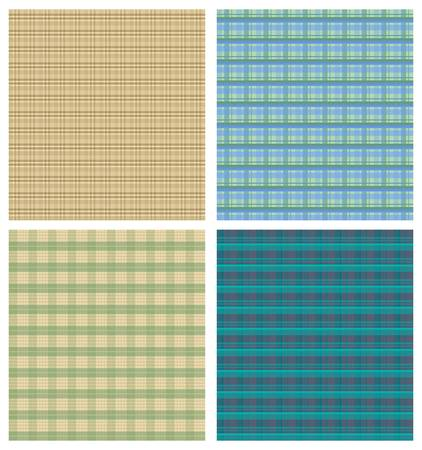 british culture: Tartan background sampler, four checkered backgrounds in different color variants