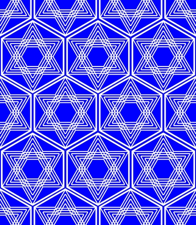 zion: Star of David background in nation Israel colors white and blue, monoline white drawing of star in a hexagonal shape. Repeating seamless patterns.