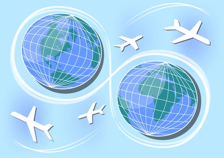 Western and Eastern Hemisphere, air paths and connections in world. Poster design for a travel agency, International Day of Aviation Illustration