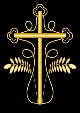 dignified: Classic golden funereal decoration with cross decorated of swirly curves and two laurel branches, symmetrical design on black background, decoration for dignified Christian burial