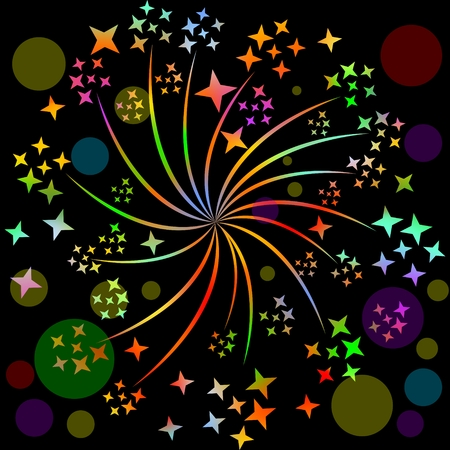 blurry lights: Fireworks, pyrotechnic rosette motif with multicolored stars on black background with blurry lights. Decoration for celebration, birthday, New year