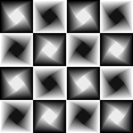 blending: Abstract seamless black and white chessboard patterns, vector background with blending effect Illustration