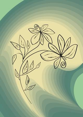 swirly: Black flower drawing on abstract swirly green background Illustration