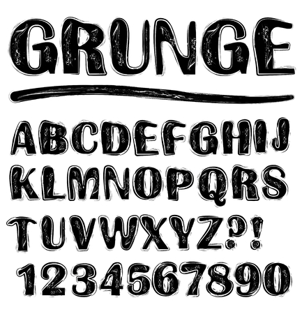 scratchy: Grunge scratchy uppercase black and white alphabet set, numbers, question mark, exclamation mark, lowercase set available in portfolio too