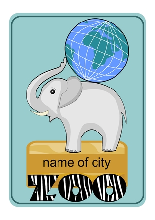 zebra skin: Zoo emblem or advertising template with little elephant baby carrying globe on his back, inscription ZOO in zebra skin design.