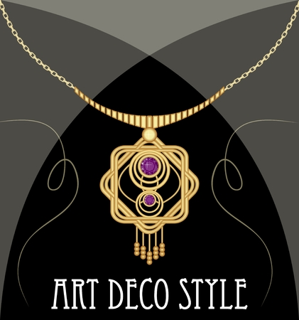 gold necklace: Gold necklace star shape with purple ametyst on fine golden chain, elegant vintage jewel in art deco style Illustration