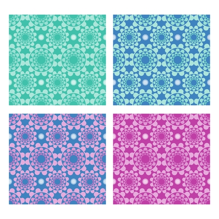 variants: Set of folklore background with geometric flower shapes in  different color variants, textile swatch, printing paper