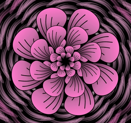 contrasting: Abstract dark pink vector flower pattern, shape in fractal style on black background, high contrasting decorative tile with 3d effect
