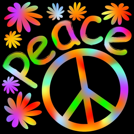 disarmament: International symbol of peace, disarmament, anti-war movement. Grunge street art design in hippies rainbow colors, inscription peace. Vector image on radiating background. Retro motif of hippies movement