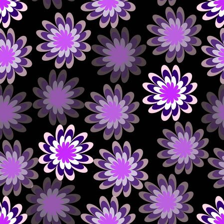 distributed: Spilled purple flower with different hue on black background, uneven distributed floral shapes, abstract seamless background Illustration