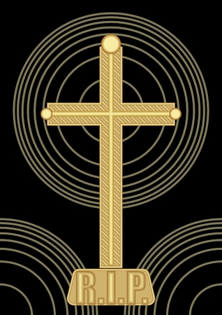 condolence: Simple abstract burial decoration with golden crucifix and concentric circle shapes on black background, inscription Requiescat in pace, Rest in pace, a tribute to the deceased R.I.P. Illustration