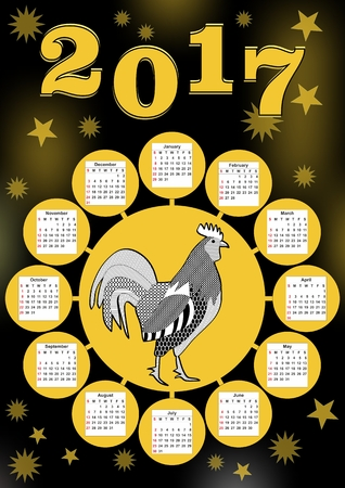 contrasting: 2017 calendar year of the rooster, yellow circle shape with cock in middle, sun shape on black background with yellow blurry lights and small stars