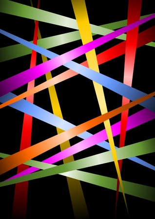 distributed: Futuristic vector background, uneven distributed diagonal multicolored strips with gradient on black bakcground, vector template useful as cover, leaflet background, poster design
