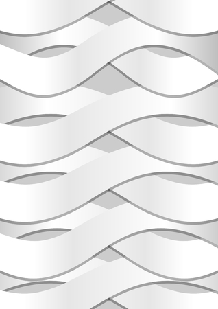 Abstract background with white cambered wavy paper strips and fine shadows on light gray background Ilustração