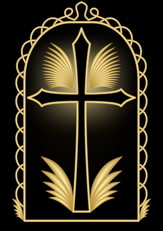 condolence: Antique luxury burial decoration with golden crucifix and wings,  golden ornamental frame in gate shape on black background, burial decoration in art deco style Illustration