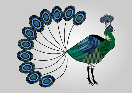boast: Isolated colorful peacock illustration with hatched patterned body parts, decorative bird, anti-stress coloring Illustration