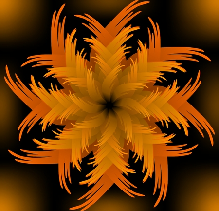 jagged: Abstract orange jagged flower pattern in fractal style on black background, high contrasting decorative tile with 3d effect