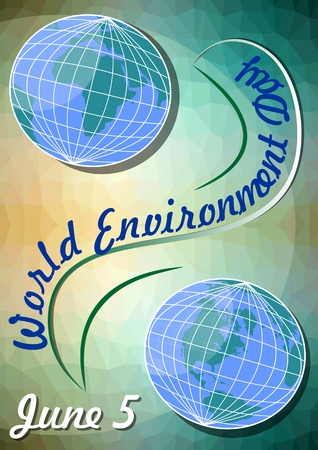hemisphere: World environment day June 5, template with Eastern and Western Hemisphere on polygonal green background with yellow light