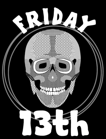 unlucky: Friday 13th. Image with skull. 13 Friday unlucky day. Illustration with skull. Skull drawing.