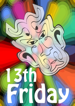 misfortune: Friday 13th, 13 Friday, unlucky day with devil head on psychedelic colorful background. Devil symbol of evil and misfortune, terrible devil head