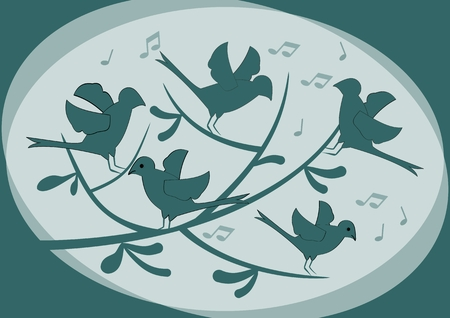 moody: Silhouettes of birds sitting on a branch and singing, abstract illustration in dark green on light background, moody fantasy image