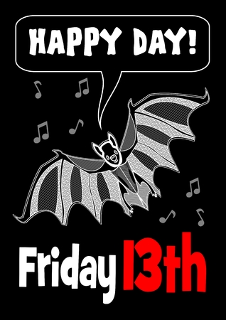 unlucky: Friday 13th with bat drawing. 13 Friday unlucky day. Cute bat. Bat clipart.