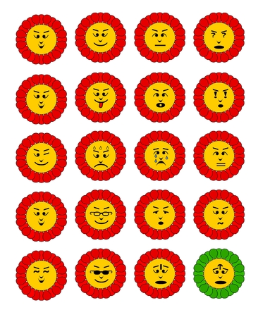 iconography: Emoticon set. Emoji flowers. Flower with emoji faces. Flower emoticon colection. Feelings expresion. Red cheerful flowers.