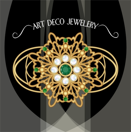 brooch: Golden brooch, art deco jewelery. Filigree jewel in retro style. Brooch with pearls and emeralds. Filigree victorian jewellery. Illustration