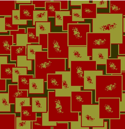 olive green: Abstract seamless background composed of strawberry red and olive green square shapes and uneven splashes in inverse colors, modern background