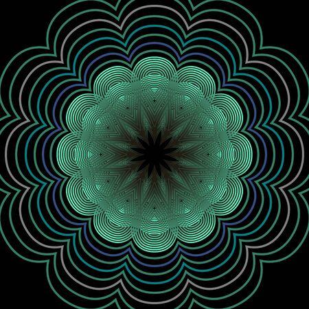 nuance: Outline floral motif in green color on black background, symmetric patterns