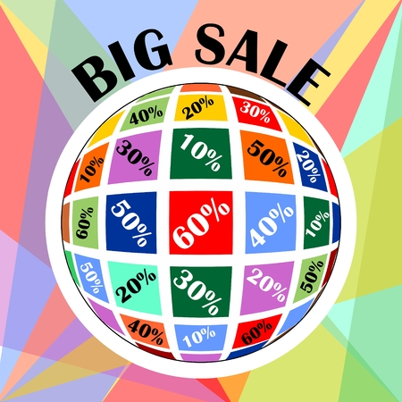 wholesale: Big sale advertisement. Percent discount in sphere shape. Multicolored sphere with percent label. Total sale offer. Illustration