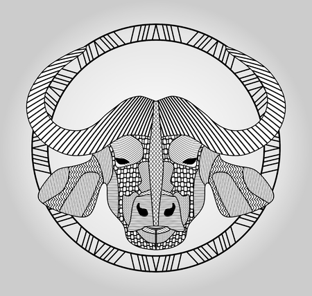 raging bull: Buffalo head, symmetric hatched drawing in circle, isolated picture Illustration