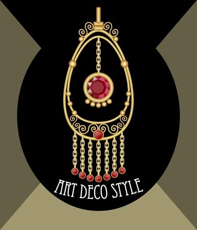 bijou: Filigree gold jewelry. Oriental earring. Golden isolated earring. Noble pendant. Ruby earring on black background. Pendant with red gem. Luxury bijou. Gold metal pendant. Luxury earring with ruby gem. Illustration