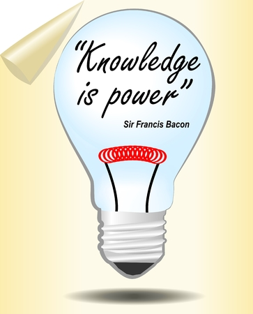 attainment: Motivation slide with bulb. Knowledge is power. Lord Bacon quote. Graphic template for education or training, study. Bulb as symbol of knowledge and learning.