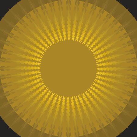 aura sun: Mystic sun shape on black background. Gold sun. Fantasy sun. Circle yellow aura.