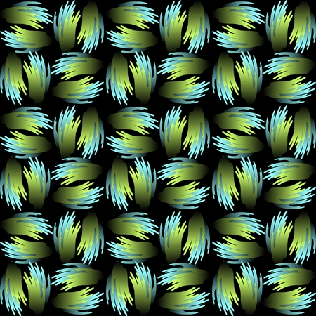 blue metallic background: Seamless vector background with green and blue abstract patterns in metallic feather shape. Contrasting gradient ornament on black background Illustration