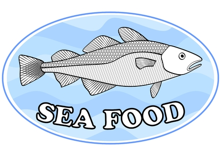 oval shape: Sea food emblem with a cod on light blue wavy background in oval shape, useful as signboard for fish restaurant