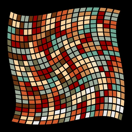 grillage: Deformed mosaic grid. Colored abstract mosaic. Deformed square grid. Colored torsion grille. Wavy texture. Distorted, deformed pattern. Deformed square element. Illustration
