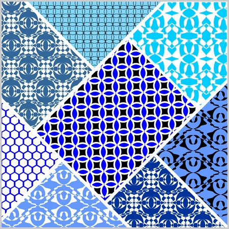 white patches: Patchwork decorative vector abstract tile in style stitched textile patches with different ornament in blue and white