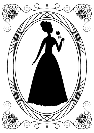 victorian lady: Retro with lady silhouette. Vintage frame with victorian lady. Monochrome drawing. Retro lady silhouette with rose. Retro invitation template. Announcement template.