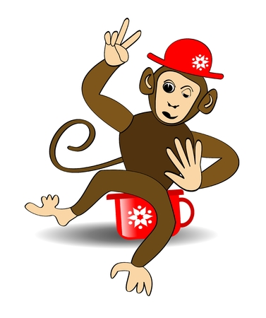 impish: Monkey cartoon. Monkey in red hat on red potty. Monkey making victoria gesture. Cheerful monkey balanced on red potty. Winking playful monkey.