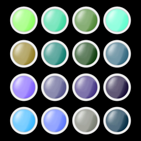 shiny buttons: Set of circle shiny empty buttons in different colors with gray metallic frame,  blank buttons useful for web design, infographic presentation