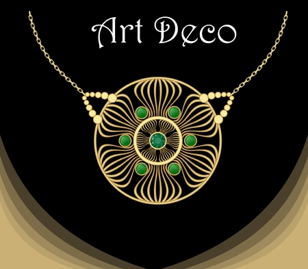 antiquarian: Gold necklace star shape with green emeralds on fine golden chain, elegant vintage jewel in art deco style Illustration