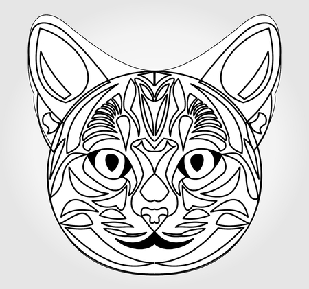 mythology: Cat head drawing. Symbol of sun god. Egyptian mythology symbol. Egypt sacred animal cat. Black and white cat head. Cat head tattoo template. Vector cat head. Illustration