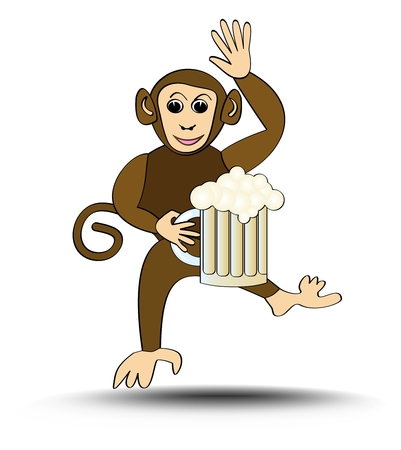 brasserie: Leaping funny monkey with a pint of beer. Cute signboard for a restaurant, brasserie or beer-house