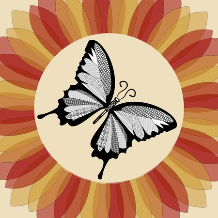 nostalgic: Butterfly in flower shape. Monochrome butterfly. Butterfly drawing. Nostalgic decoration. Vintage butterfly. Nostalgic colored flower. Retro decoration with butterfly. Illustration
