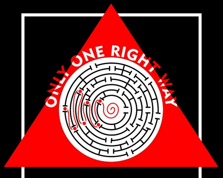 right of way: Labyrinth with only one right way. Motivation or education slide. Maze with red right way. Round labyrinth on red triangle shape. Inscription only one right way.